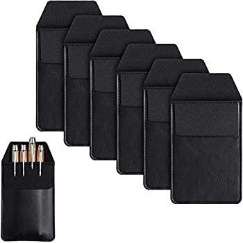 6 Pieces Leather Pocket Protector Durable Pen Holder Pencil Pouch for Shirts Lab Coats 6.1 x 3.3 Inch  Black