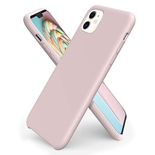 ORNARTO Funda Silicone Case para iPhone 11, Carcasa de Silicona Líquida Suave Antichoque Bumper para iPhone 11 (2019) 6,1 Pulgadas-Rosa Arena