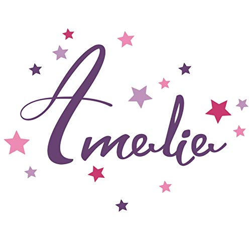 Neu bei tjapalo® pk265 Wandtattoo Mädchen Name kinderzimmer türschild Mädchen Wandtattoo Name Mädchenzimmer mit bunten Sternen, Größe: B45xH27cm