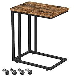 Songmics Housse de Snack côté Table d'extrémité pour un café pour ordinateur portable tablette diapositives à côté de canapé avec structure en métal et à roulettes vintage pièce Ulnt50X: Amazon.ca: Maison et Cuisine