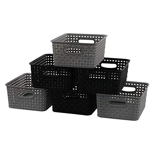 Ordate Korb Plastikkorb Haushaltskorb Körbchen Aufbewahrungskörbe Plastik Kunststoff, Schwarz Grau, 6 Stück