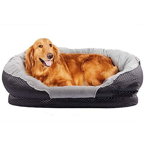 Zodae Cuccia Ortopedica per Cani, Grigio, Lavabile, Antiscivolo, per Cani di Taglia Media e Grande XL