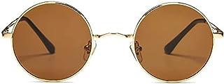 FIKO - Gafas de Sol Polarizadas para Hombre y Mujer estilo Retro Vintage Redondas Unisex Círculo Metálico Hippie Steampunk Protección UV400 (MARRONE)