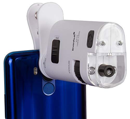 Microscopio de Bolsillo Levenhuk Zeno Cash ZC16 con Pinza, Iluminación Ultra-Violeta y Linterna LED para Teléfono Móvil y Tableta (iPhone, Android), Rango de Ampliación del Zoom: 100x–150x