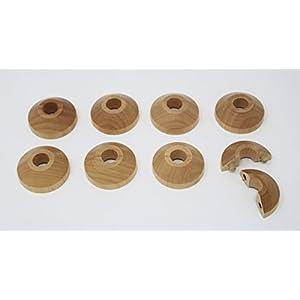 Visua Arandelas de tubos de madera maciza, rosetas, puntos de entrada para tubos de 15 mm Pack de 8 Roble