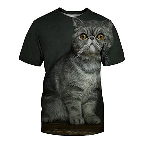XDJSD Camiseta De Hombre Camiseta Corta De Manga Corta Camiseta De Gran Tamaño Camiseta De Cuello Redondo Camiseta De Hombre Camiseta De Gato Camiseta De Manga Corta Top
