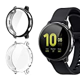 [2 Pack] Case for Samsung Galaxy Watch Active 2 40mm, All-Around TPU Anti-Scratch Flexible Screen Protector Case Soft Protective Bumper Cover for Samsung Galaxy Watch Active 2 Clear and Black(40mm)