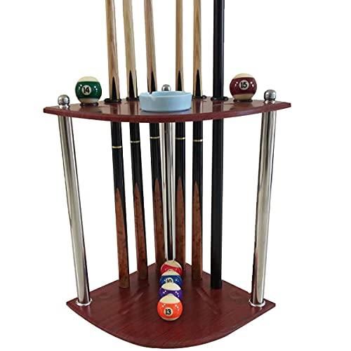 Pool Cue Stick Holder - Hörngolv Biljardställ, rymmer 8 Pool Cue Stick och full uppsättning poolbollar, för spelrum Poolbarer Klubbar Biljardspelare, gummicirkelplattor