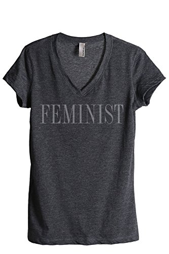 Thread Tank Feminist Women's Fashion Relaxed V-Neck T-Shirt Tee Charcoal Medium