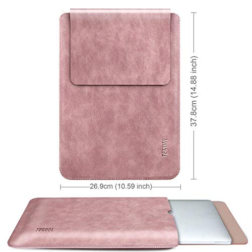 TECOOL Laptop Hülle 15 Zoll Tasche, Laptop Sleeve wasserdichte Notebooktasche Kunstleder Schutzhülle für MacBook Pro 15, 2019 MacBook Pro 16 A2141, 15