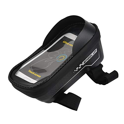 N\A Bike Frame Bag with Sun Visor, Waterproof Mountain Cycling Pouch Bag with Touch Screen, Large Capacity Bike Phone Bag for Universal 6.5 Inch Smartphone, Black