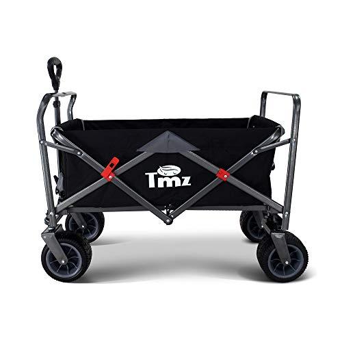 TMZ All-Terrain Auto-Reifen Faltbar Bollerwagen, Patentierter Breiter 360 ° Drehräder Handwagen Klappbar Transportwagen, Patentierte Falttechnik Gartenwagen, GS-Zertifizierung, 90 L, bis 150 kg