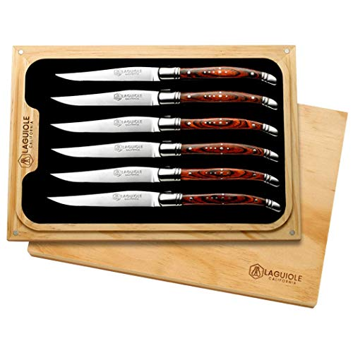 Laguiole California French-Designed Steak Knives Set of 6 (Rosewood)