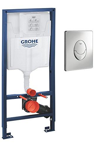 Grohe 38763001 38763001-Rapid SL Set 2en 1, Cisterna empotrada con pulsador Skate Air,para Inodoro de Pared, 1, 13m, Cromo, 1,13 m