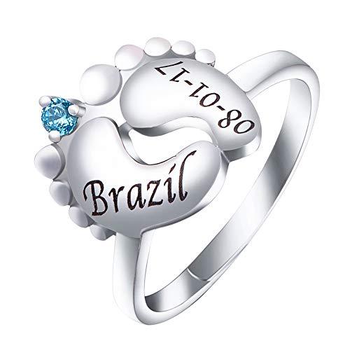FanSi Baby Feet Ring mit Birthstone Personalisierte Gravur Name Geburtsdatum