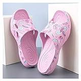 DEMXYA Sandalias de Playa Encantador patrón Estilo Casual Impermeable Transpirable Impermeable aplauso Chanclas Zapatos para niña Zapatillas eva Suave Abajo. (Color : Dark Powder, Shoe Size : 6)