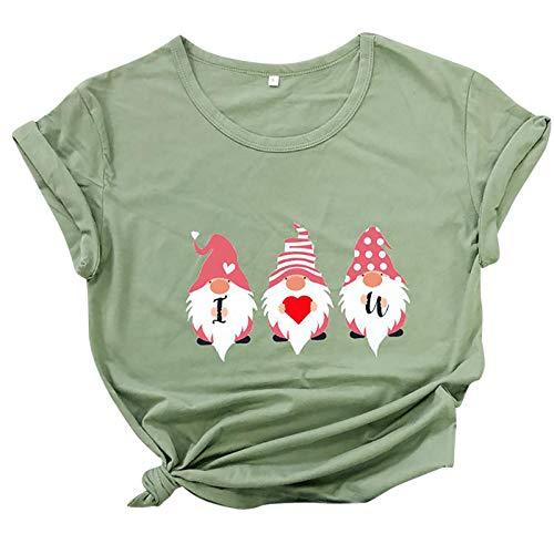BUDAA Camiseta de manga corta para Navidad, unisex, informal, diseño único verde XL