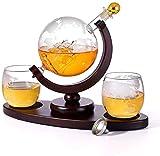 Whiskey CARAFE Paño Whisky Decanter Globe Set con 2 gafas de whisky de globo grabado para licor, Borbón, Vodka 850ml Regalo de whisky para hombres (Color: C)