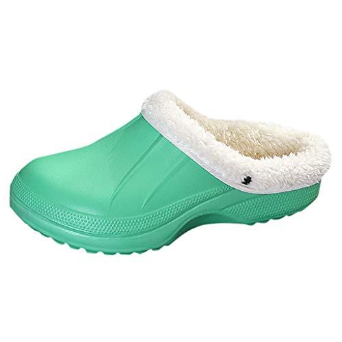 Smonke Unisex Warm Gefüttert Hausschuhe Hause Wasserdichte Indoor-und Outdoor Gartenschuhe Freizeit Einfache Mode Runde Kappe Herbst Winter Flache Schuhe