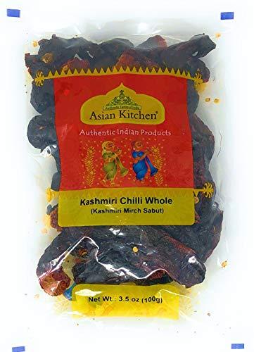 Asian Kitchen Kashmiri Chilli Whole, Low Heat Indian Chilli 3.5oz (100g) ~ All Natural | Vegan | Gluten Friendly | NON-GMO | Indian Origin