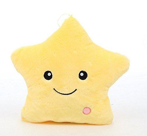 Missley LED Star Kissen Kissen Bright Light Bunte glühende LED Star Plüsch Kissen Plüsch Spielzeug Puppe für Dekoration Geschenke (Yellow)