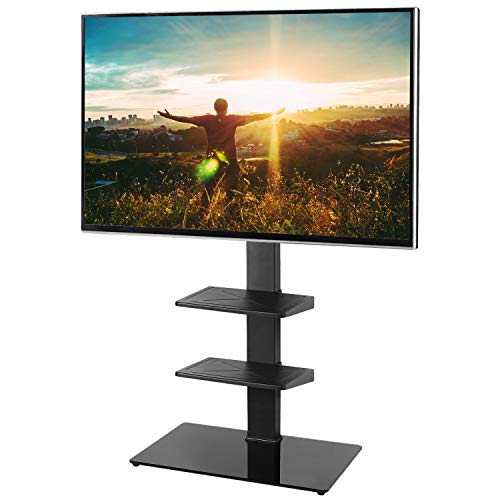 RFIVER Black Cantilever TV Stand with Bracket Mount for LED LCD QLED Plasma 32 42 50 55 65 Inch Flat Screen Curved TV with Height Adjustable Swivel Black TF2002