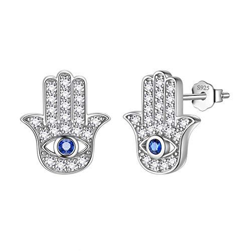Aurora Tears Hamsa Fatima Hand Stud Earrings 925 Sterling Silver Evil Eye Earring Jewelry for Men and Women DE0234W