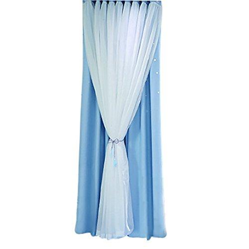 Janly Clearance Sale Cortina de tul transparente con efecto cielo estrellado para ventana, cenefa de doble piso, decoración del hogar para el día de Pascua (azul)