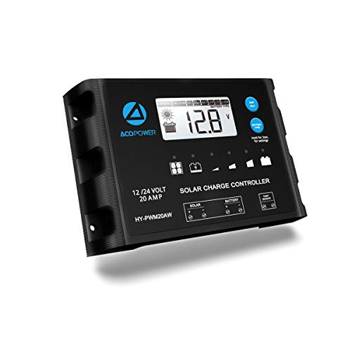 ACOPOWER ProteusX 20A 12V/24V PWM Waterproof Solar Charge Controller w/LCD Display