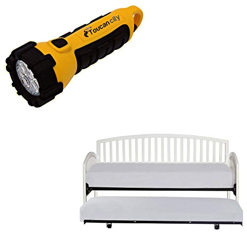 Toucan City LED Flashlight and Hillsdale Furniture Carolina White Daybed with Suspension Deck and Roll-Out Trundle 1109DBLHTR