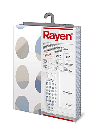 Rayen | Funda para tabla de planchar Universal | Con recubrimiento de titanio | 127 x 51 cm | Blanco Estampado