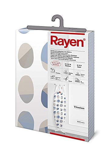 Rayen | Housse pour table à repasser Universelle | 4 épaisseurs: mousse, molleton, tissu 100 % coton et titane | Housse à revêement en titane | Gamme Premium | 127x51 cm | Fond blanc |