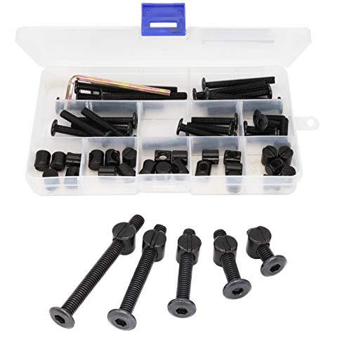 binifiMux 50pcs Crib Hardware Screws, M6 x 20mm/ 30mm/ 40mm/ 50mm/ 60mm Black Hex Socket Cap Bolts Barrel Nuts Assortment Kit for Cot Crib Bed Chairs
