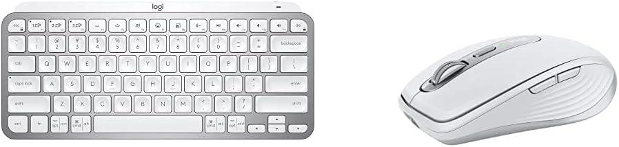 Logitech MX Keys Mini Minimalist Wireless Illuminated Keyboard - Pale Gray with Logitech MX Anywhere 3 Compact Performance Mouse - Pale Grey