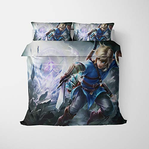Batte Bettbezug The Legend of Zelda, Bettwäsche-Set, 100 % Mikrofaser, 3D-Druck, Bettbezug und Kissenbezüge Anime (D,135 x 200 cm)