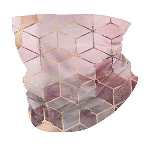 Lesif Seamless Face Bandana Head Wrap Scarf Headband Neck Warmer Gaiter Headwear Balaclava For Outdoors Sports,Pink And Grey Gradient Cubes
