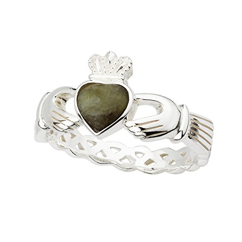 Celtic Weave Claddagh Ring-Connemara Marble & Silver-Size 8