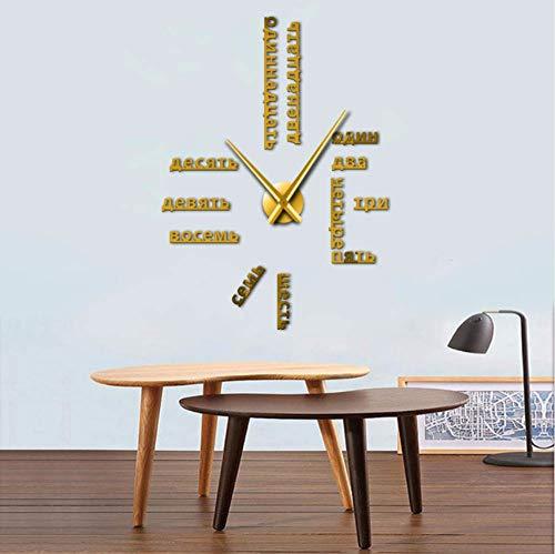 jukunlun Langue Étrangère Bricolage Géant Horloge Murale Grand Chiffres Russes Soviétiques Grande Horloge Montre Chambre De Bébé Décoration Préscolaire Montre Russe 37Inch