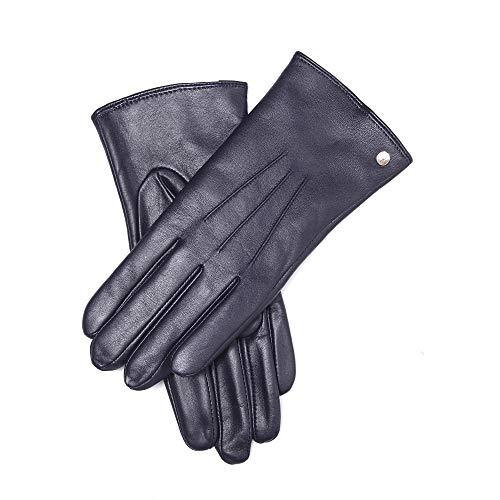 """YISEVEN Damen Lederhandschuhe Wolle Gefüttert Touchscreen Winter Handschuhe Leder Damenhandschuhe Auto Elegant Warm Lammfell Winterhandschuhe Frauen Fahrerhandschuhe Autohandschuhe, Blau XL/8.0\"""""""