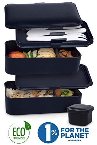 UMAMI  Lunch Box Negra Mate | Bento Box Con 2 Compartimientos Herméticos Y...