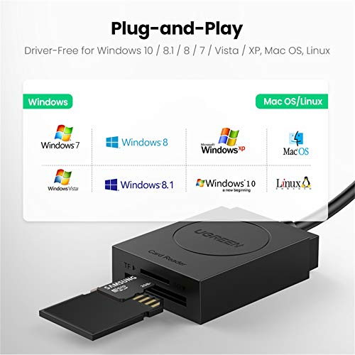 UGREEN USB 3.0 SD TF Kartenleser USB Card Reader Adapter TF SD Kartenleser 2 Slot Kartenlesegerät für SDXC, SDHC, SD, MMC, RS-MMC, Micro SDXC, Micro SD, Micro SDHC Karte schwarz