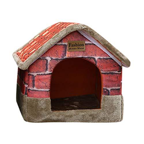 Sannysis Premium Haustierhaus Hundebett Katzenhöhle Plüsch mit Retro Roter Backstein Muster für Haustier Hund Katze Kaninchen Soft Bett Haus Indoor Hundehütte Mehrfarbig, M