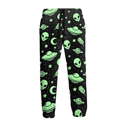 Gggo Aliens and Spaceships Men Sport Pants, Soft and Comfortable Sweatpants, Joggers Pants Black