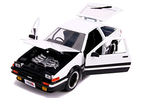 1986 Toyota Trueno (AE86) RHD (Right Hand Drive) White and Black JDM Tuners 1/24 Diecast Model Car by Jada 31602