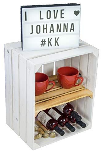 Neue weiße Massive Obstkiste Johanna mit geflammtemZwischenbrett QUER/Zwischenbrettern ca...