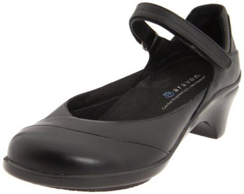 Aravon Women's Maya Pumps, Black Leather, 6