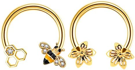 Jewseen 2PCS Septum Ring 16G 316L Surgical Steel Cartilage Earring Hoop Nose Ring Cute Bee Captive product image