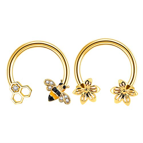 Jewseen 2PCS Septum Ring 16G 316L Surgical Steel Cartilage Earring Hoop Nose Ring Cute Bee Captive Bead Rings Tragus Daith Rook Helix Piercing Jewelry