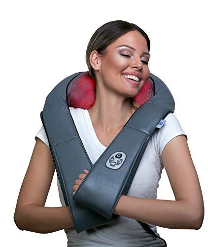 Premium Shiatsu Nackenmassagegerät mit Wärmefunktion, TÜV geprüft und 7 Jahre Garantie: Original MunichSpring, kabelgebundenes Massagegerät für Schulter Rücken Wellness