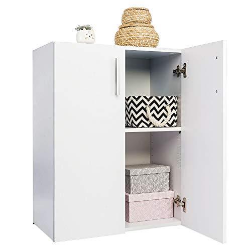 COSTWAY Armario con Puertas Librería Multiusos Estantería de Pie con Estante Ajustable Gabinete para Dormitorio Oficina Salón 60x77x32cm (Blanco)